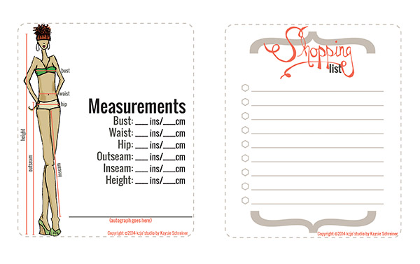 Measurements and shopping list